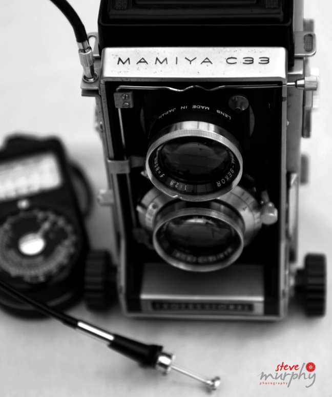 MAMIYA C33 with Weston Master Universal Exposure Meter and shutter release cable (attached)