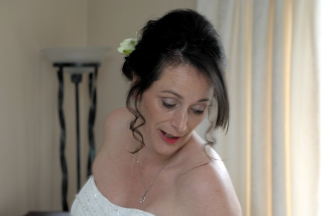 Mandy getting ready at home before heading to Risley Hall to be married to Tom